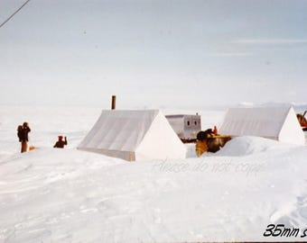 Kodachrome 35mm slide ~   1960 Arctic base camp ~  Ellesmere Island Canada