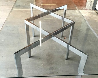 "Milo Baughman Thayer Coggin Chrome ""X"" Dining Table"