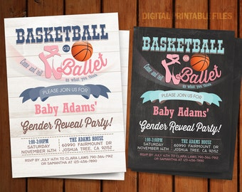 Basketball or Ballet Gender Reveal Invitation, Gender Reveal Party Invitation, Basketball or Ballet, Basketball Gender Reveal Party
