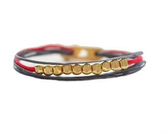 Pebbles 24k gold filled beads multi cord wrap bracelet
