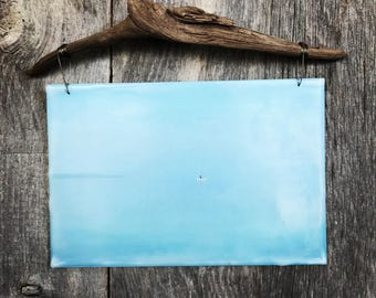 Tranquil Blue. Lake Superior, Minnesota. Blue. Paddle board. Encaustic photography. Driftwood art.