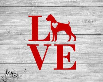 Custom Dog Decal, Dog Love Decal, Love My Dog Decal, Custom Pet Decal, Dog Laptop Decal, Dog Car Decal - Choose the Breed, Size, and Color
