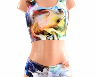 Swirling Smoke Multicolored Tank Crop Top & Ultra Cheeky Booty Shorts Set Rave Clubwear Festival 154385