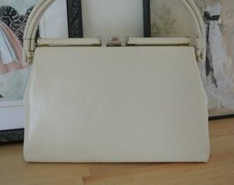Kelly Handbag Ivory Beige structured Top Handle Retro Mod Purse