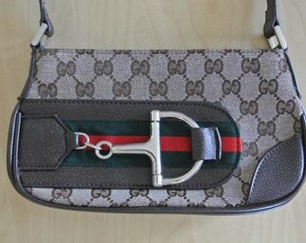 Horse bit Double G Baguette Handbag Canvas and Faux Leather Monogram Purse