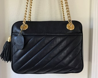 Quilted Leather Handbag Navy Blue Lucien Piccard Tassel Zipper Chain Strap