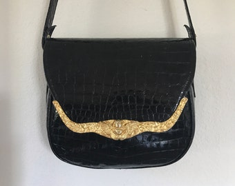 Ann Turk Black Cross Body Angel Cupid Face Rare Reptile Embossed Faux Leather Shoulder Bag