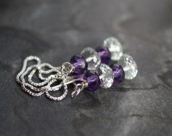 Amethyst earrings, amethyst ear threads, Sterling silver box chain ear threaders, amethyst jewelry, February birthstone gift for her