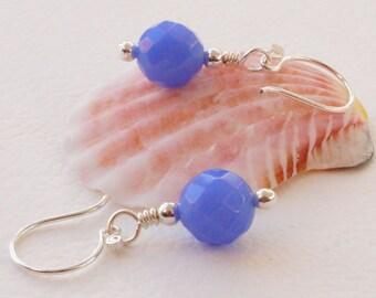 Blue earrings, lavender earrings, faceted agate earrings, gemstone earrings, short earrings, handmade artisan ear wires, everyday earrings