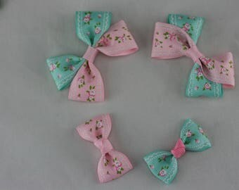 One set 4 pieces bows  Grosgrain Bows boutique hair bows Hair clips Girls hair bows Baby Kids with wrapped clips