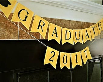 Graduate Banner, fabric bunting, fabric garland, party decorations, party banner, photo prop, flag banner, office banner, party supplies