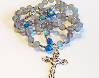 GRAY & BLUE Handcrafted Catholic Saints Rosary Necklace Beaded Chain
