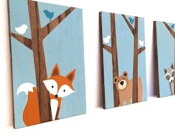 Woodland Nursery Art - Fox Decor - Forest Friends Nursery - Woodland Animals Nursery - Nursery Wall Art - Wood Signs - Woodland Creatures
