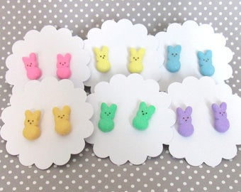 Peeps Earrings, Stud Earrings, Peeps Bunny, Easter Earrings, Miniature Food Jewelry, Easter Gift, Cute Earrings, Easter Basket Stuffers