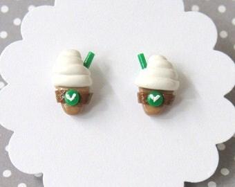 Iced Coffee Earrings, Frappe Earrings, Coffee Stud Earrings, Miniature Food Jewelry, Nickel Free, Hypoallergenic, Coffee Lover