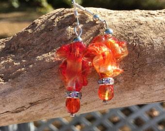 Red Lampwork Glass Earrings