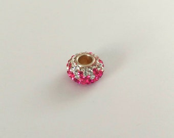 12 mm Large Hole Crystal Bead Pink and Crystal