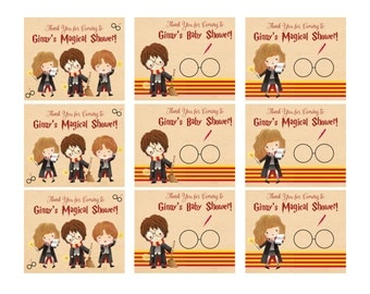 Harry Potter Baby Shower Tags - Harry Potter Baby Shower Favors - Cute Harry Potter Baby Shower Tags - Harry Ron Hermione - Digital File