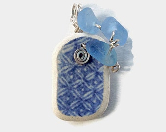 Scottish Blue Beach Pottery Pendant with Blue Sea Glass, Wire Wrapped Sterling Silver Jewelry