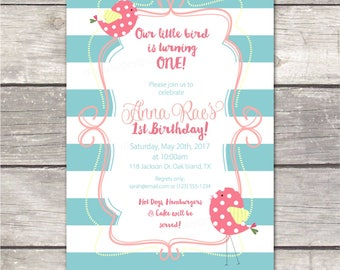 Girls first Birthday Party Invitation / teal stripes, pink, yellow with birds / custom printable digital invite