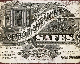 1884 Detroit Safe Company Reproduction Metal Sign 8 x 12
