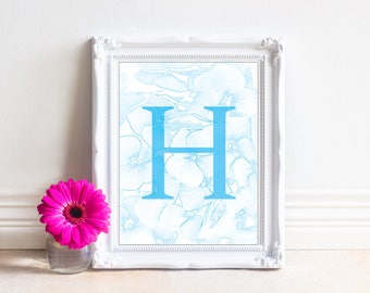 Alphabet Letters Printable, Letter H, Printable Monogram, Monogram Letters,Digital Letters, Digital Initial, INSTANT DOWNLOAD Printable Art