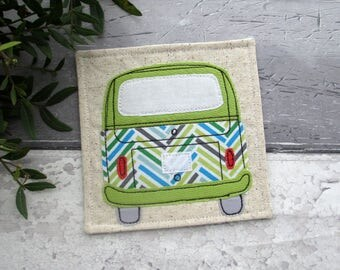 Fabric Camper Van Coaster, VW Bus, Green Coaster, Fabric Coaster, Gift For Him, Gift For Her, Leaving Gift, Housewarming Gift