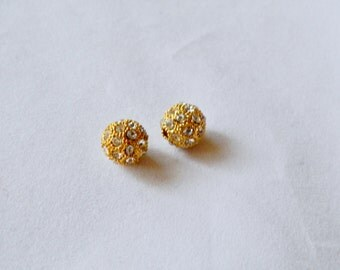 12mm Gold Alloy Crystal Pave Bead