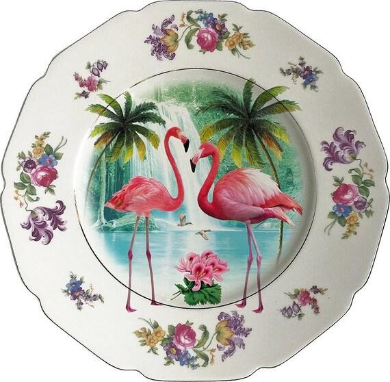 Flamingos XL- Vintage Porcelain Plate - #0428