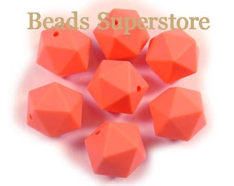 SALE 14 mm Salmon Orange Silicone ICOSAHEDRON Bead - Food Grade Teething Baby Bead - Teething Necklace Silicone Bead (14ICO48)