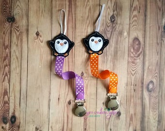 Feltie Penguin Pacifier Holder--Orange or Purple