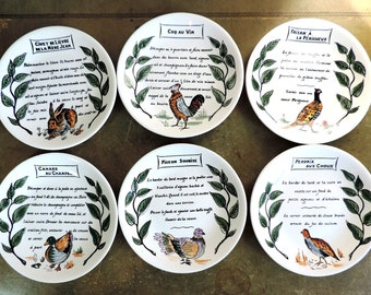 French Vintage Plates/Vintage Plates/Gien Plates/Vintage Plates With Game Animals With Recipe Set of 6/ Hand Painted Plates