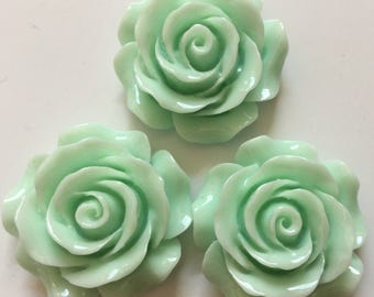 2 pcs 28 mm Cabochon Flowers,Pastel green,28 mm pastel green Rose,pale green rose cabochon flower,big rose cabochon,pale green rose flowe