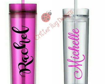 Personalized Acrylic Double Walled skinny tumbler BPA Free Plastic Cup with name, water bottle personalised red green blue pink purple grey