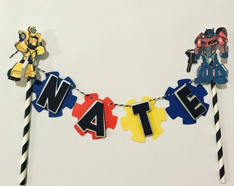 Transformers cake bunting optimus prime/ bumble bee