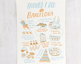Things I Did in Barcelona Letterpress Postcard