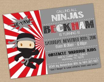 Ninja Warrior Birthday Invitation. American Ninja Warrior Party. Ninja Party Invite. Party Decor Kid Birthday. 5x7 DIGITAL Printable file.