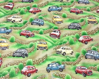 Patchwork Quilting Fabric Nutex Magic Minis Cars on Green 87530