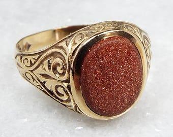 Vintage / 1980 9ct Gold Ornate Engraved Goldstone Agate Signet Ring / Size N