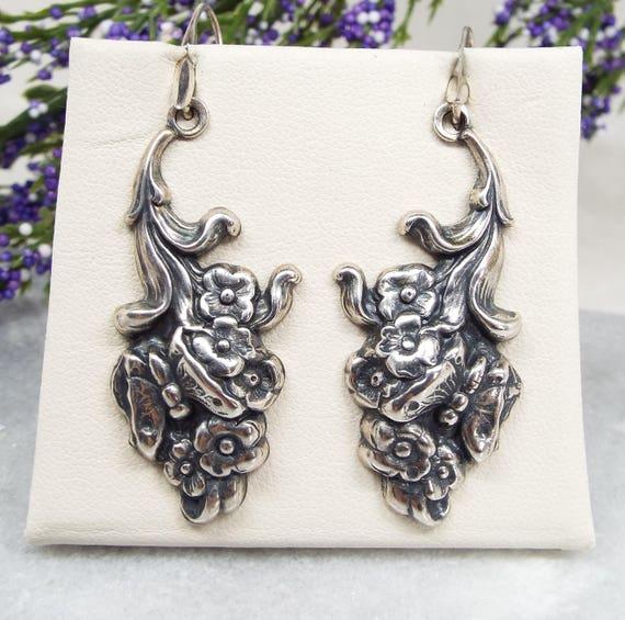 Vintage French Art Nouveau Sterling Silver Butterfly Flower Hook Drop Earrings