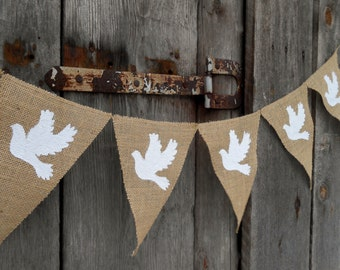 Dove Banner Christening Banner Baptism Banner Wedding Decor Christmas Decor Dove Ornament Dove Decor Wedding Banner Dove Bunting Christmas