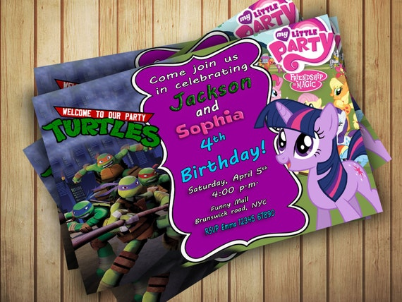 Printable My Little Pony Ninja Turtles Personalised Joint Dual - Custom vinyl decal application instructions pdfapplication etsy