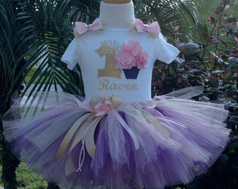 Pink purple and gold 1st birthday outfit girls,one year old,personalized,first birthday, hand cut sewn at the waist, includes boutique bow,