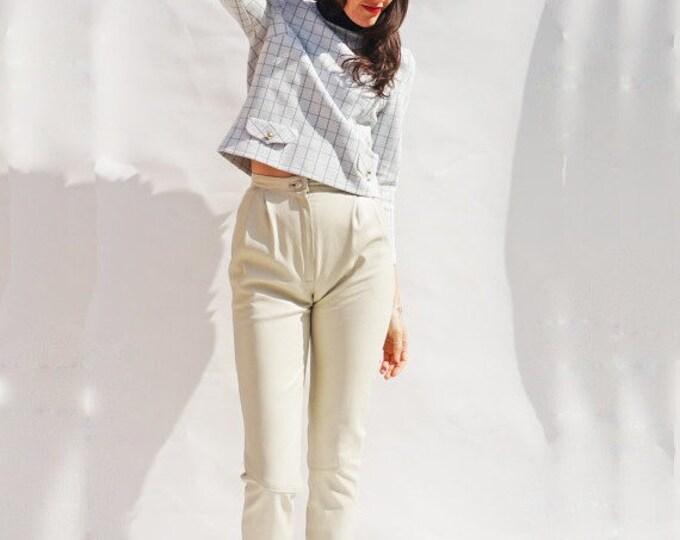 60s Mod Jumper, Vintage 60s Mod High Neck Check White & Blue Jumper, Roll Neck Jumper, 60s Crimplene Sweater, Window Pane Check Top, Vintage
