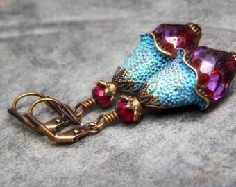 Bohemian leverback earrings, boho patina jewelry, dangling earrings, brass bohemian jewelry