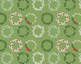 Comfort and Joy - Wreaths Green by Design by Dani for Riley Blake Designs, 1/2 yard, C6263-Green