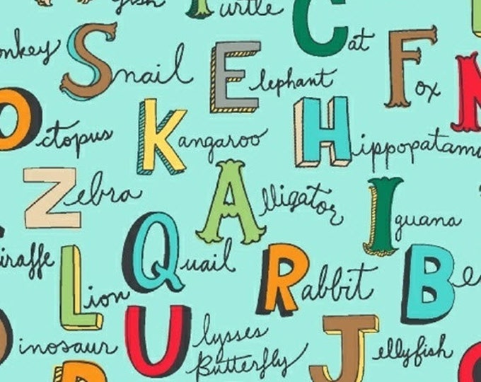 Half Yard Animal ABCs - Alphabet Words in Turquoise - Cotton Quilt Fabric - by Whistler Studios for Windham Fabrics - 41324-2 (W3586)