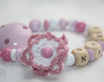 Crochet flower- Personalised Wooden Dummy Clip / Chain / Holder / Pacifier