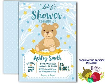 Teddy Bear Baby Shower invitation - Twinkle Twinkle Little Star
