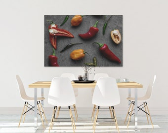 peppers v. two // food photography print // canvas print // kitchen wall art // dining room wall art // rustic wall art // chili peppers